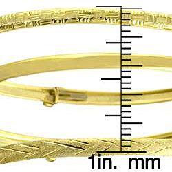 10k Yellow Gold 3 piece Flex Bangle Set