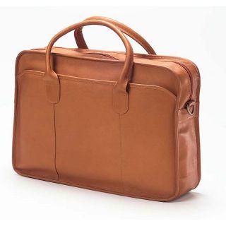Clava Top Handle Tan Leather Briefcase
