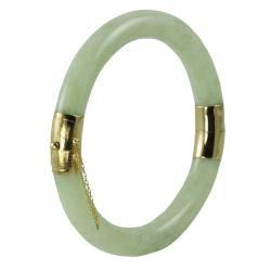 Gems For You 14k Yellow Gold Green Jadeite Bangle Bracelet