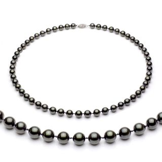 DaVonna 14k Gold Black Akoya Pearl High Luster 18 inch Necklace (7 7.5