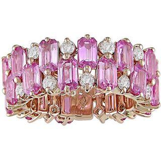 18k Gold Pink Sapphire 1 1/8ct TDW Diamond Band (G H I, SI