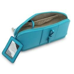 Morelle Rachel Turquoise Leather Cosmetic/ Jewelry Case