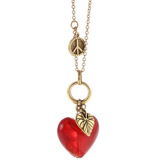 Charming Life Goldtone Pewter Red Glass Apple Heart 32 inch Necklace