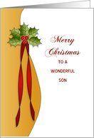 Son, Merry Christmas Card with Holly Card
