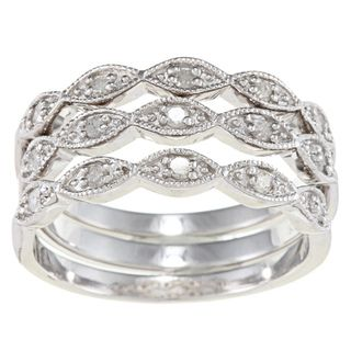 Silver 1/3ct TDW Diamond 3 piece Stackable Eternity Band Set