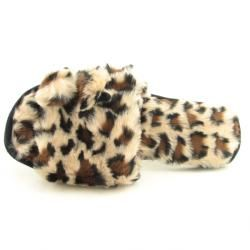 Charter Club Womens Faux Fur Pom Slide Brown Slippers (Size 9