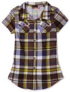 Unionbay Girls 7 16 Beach Plaid Button Up Shirt, Acorn, X