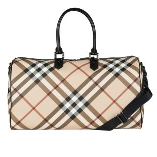 Burberry Check Patent Leather Trim Weekender Bag