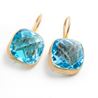 18k Gold plated Silver Blue Topaz Earrings (India)