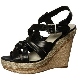 Nine West Womens Nonsense Black Wedge Sandal