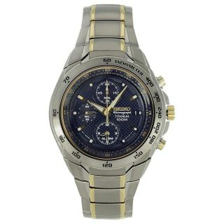 Seiko Mens Two tone Stainless Steel Blue Dial Chronograph Watch