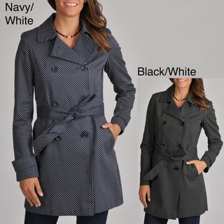 Tommy Hilfiger Womens Polka dot Belted Trench Coat