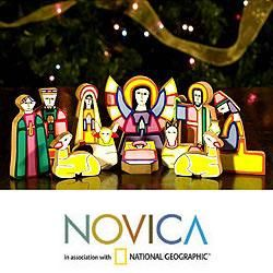 Handcrafted Pinewood Christmas Color Nativity Scene (El Salvador