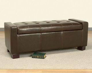 Tufted Leather Storage Bench Dark Brown