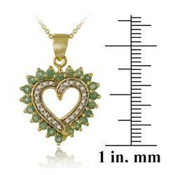 Glitzy Rocks 18k Gold over Silver Emerald and Diamond Heart Necklace