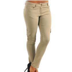 Stanzino Womens Khaki Cargo Pocket Stretch Pants