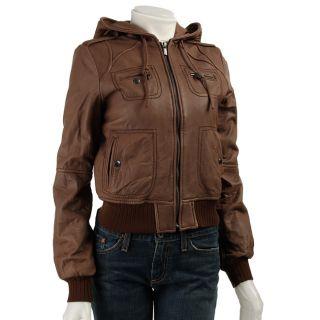 MICHAEL Michael Kors Womens Hooded Bomber Jacket