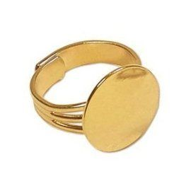 Adjustable Gold Plated Ring Base with 16mm Pad (36 pcs