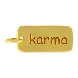 Rectangular KARMA Double Sided Word Tag Charm or Pendant in Gold