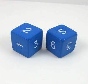 Blue Jumbo Polyhedral 6 Sided Dice   Set of 2 Toys