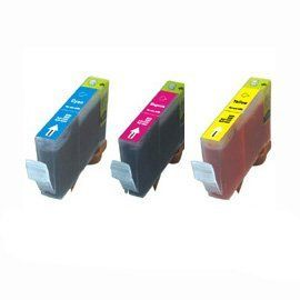 3 Pack Color Ink for CLI 221 Canon Compatible Pixma iP3600