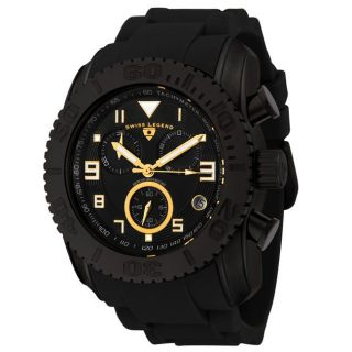 Swiss Legend Mens Commander Black Dial Black Silicone Chronograph