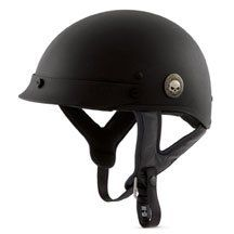 Skull Half Helmet   Matte Black   Lightweight fiberglass shell with D