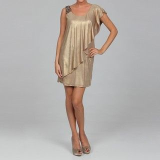 Sophia Christina Womens Gold Sequin Ruffle Dress FINAL SALE