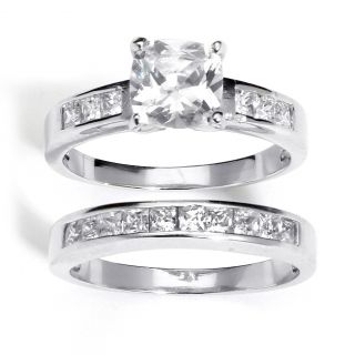 Ultimate CZ Platinum over Silver Cubic Zirconia 2 piece Ring Set