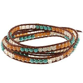 Blue, Orange and Clear Bead Leather Wrap Bracelet