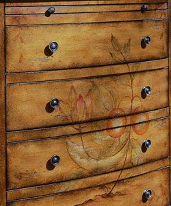 Hand painted Pecan Accent Chest