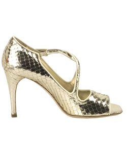 Prada Gold Leather Snakeskin Print Peep Toe Sandals