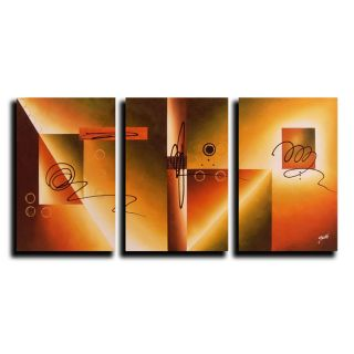 Hand painted Original Abstract Oil Paintings (Set of 3)