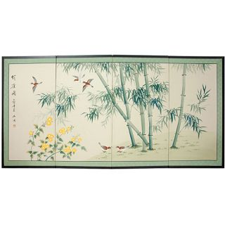 Bamboo and Five Birds Silk Painted Privacy Screen (China