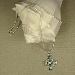 Jewelry by Dawn Cross Shaped Abalone Pendant Necklace