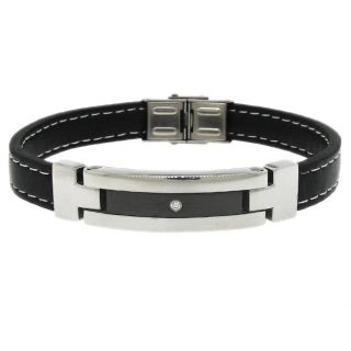 Two tone Stainless Steel Mens Black Leather ID Bracelet