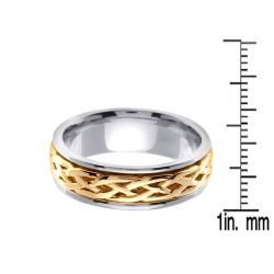 14k Two tone Gold Mens Celtic Design Wedding Band