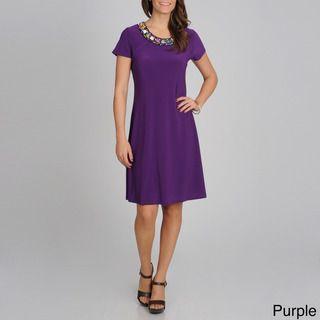 Lennie for Nina Leonard Womens Pebbled Necklace Dress