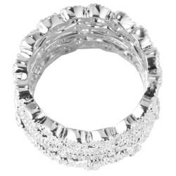 Ultimate CZ Silvertone Cubic Zirconia Stackable Eternity Rings (Set of