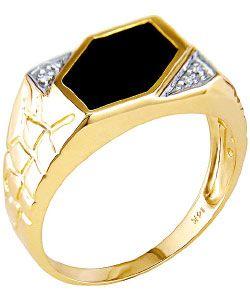 Miadora 14 kt. Yellow Gold Diamond Black Agate Ring