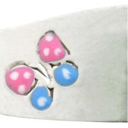Sterling Silver Childrens Enameled Butterfly Adjustable ID Bracelet