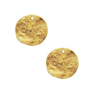 Beadaholique Goldplated Pewter Textured Flat Disc Charms (Set of 2