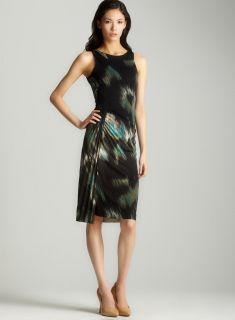 Halston Heritage Side Twist Pleated Print Dress