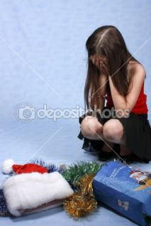 Sad girl with the Christmas decorations  Stock Photo © Natalya