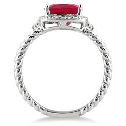 10k White Gold Ruby and Diamond Accent Ring