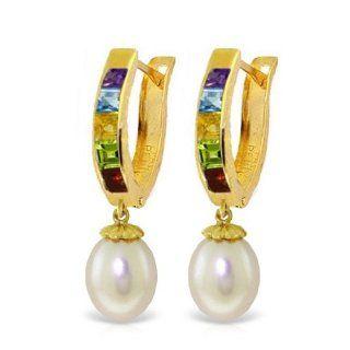 14k Solid Gold Oval Hoop Huggie Multi Gemstone Earrings