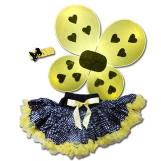 Girls Lady Bug Black/ Yellow Tutu with Wings Set