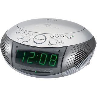 Jensen JCR 332 AM/FM Dual Alarm Clock Radio with Top loading CD Player
