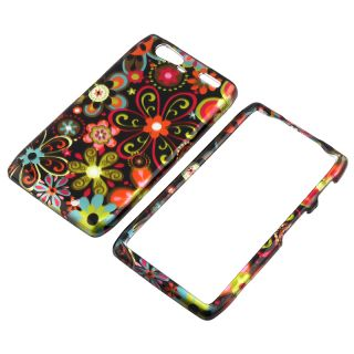 Black Multi Flower Snap on Case for Motorola Droid RAZR Maxx XT916