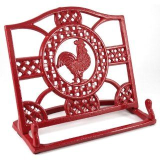 Anchor Hocking Cast Iron Red Rooster Cookbook Holder